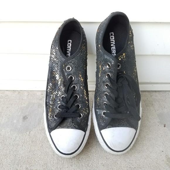 26f8368e6680 Converse Shoes - GUC Black   Gold Sequin Converse sz 7.5